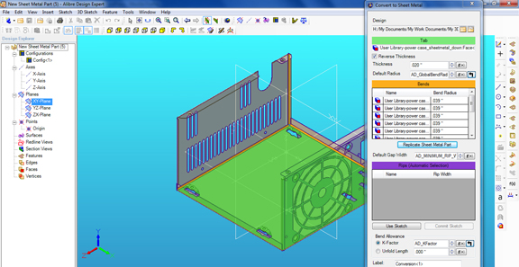 The Convert to Sheet Metal command in Alibre Design Expert 2011 lets you automatically reconstruct the feature list of imported sheet metal parts.