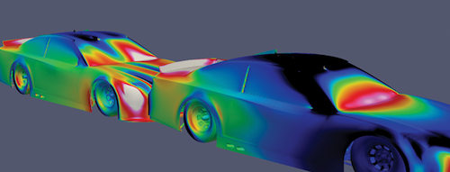 Through the assistance of AweSim partner TotalSim USA, NASCAR leverages CFD through AweSim's HPC Cloud services to understand aerodynamics and vehicle performance. Image Courtesy of AweSim