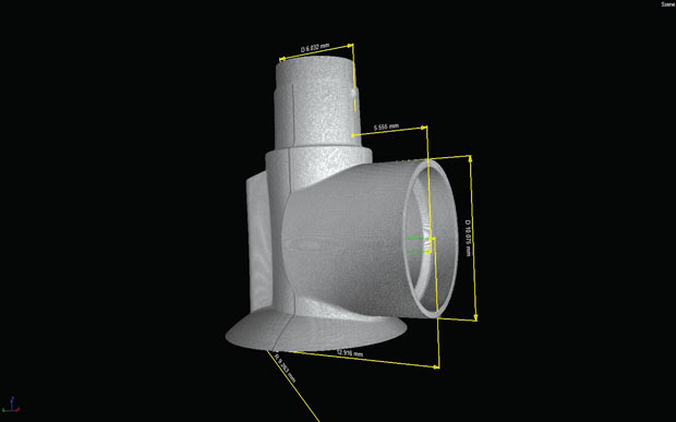 CT scanning lets engineers obtain measurements of internal and external structures without having to disassemble a part. Images above courtesy of Exact Metrology. Image on opposite page courtesy of Jesse Garant & Associates.