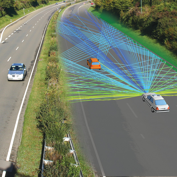 Propagation paths for automotive, forward-looking radar in an automatic cruise control scenario using WinProp EM simulation software from Altair. The operation is at approximately 76GHz. Image courtesy of Altair.