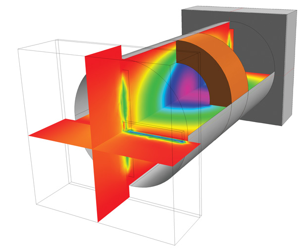 An evanescent-mode cavity filter is modeled in COMSOL Multiphysics. The example is resonant at a frequency lower than its original fundamental mode frequency, and is accomplished by creating an internal discontinuity. Image courtesy of COMSOL.