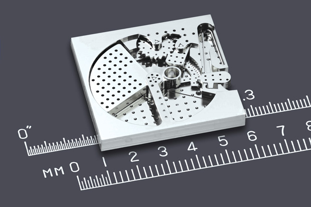 A munition timing device that was printed as a single part and significantly scaled down. Image courtesy of Microfabrica.