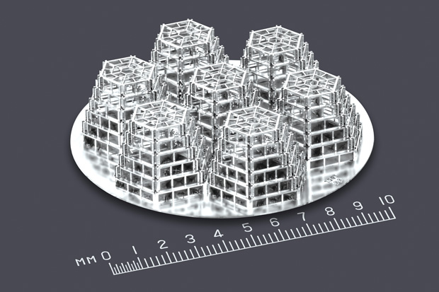 This articulating tissue scaffold was produced with Microfabrica's proprietary production method. Image courtesy of Microfabrica.