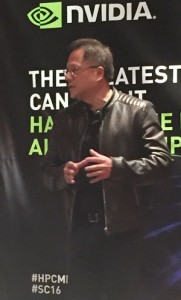 Jen-Hsun Huang, founder and chief executive officer of NVIDIA speaks to reporters at SC16.