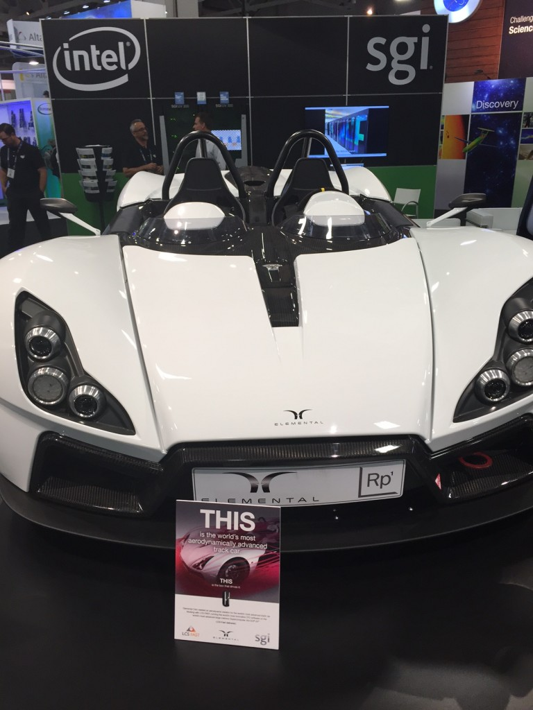 The work of simulation and design consultancy, LCS-FAST, was on display at the SGI booth. CFD was used throughout the Elemental RP1 car's development including what it says is the world's first 5th order accurate transient simulation of a whole automotive car.