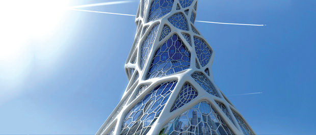 Altair's OptiStruct topology optimization software was used to explore architectural design variants for the Bionic Tower high-rise proposal. Image courtesy of Altair and LAVA Laboratory for Visionary Architecture.