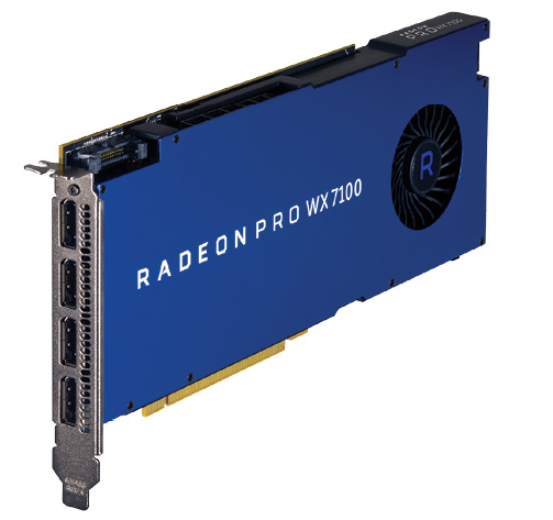 Fig. 3: The high-end VR-ready AMD Radeon Pro WX 7100. Photos courtesy of AMD.