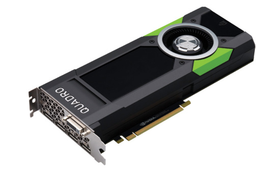 Fig. 3: The ultra-high-end NVIDIA Quadro P5000 features 16GB of GDDR5X memory. Photos courtesy of NVIDIA.