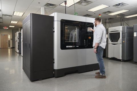 The new F900 Production 3D Printer is factory-floor ready with MTConnect interface and composite material compatibility. Image courtesy of Stratasys.
