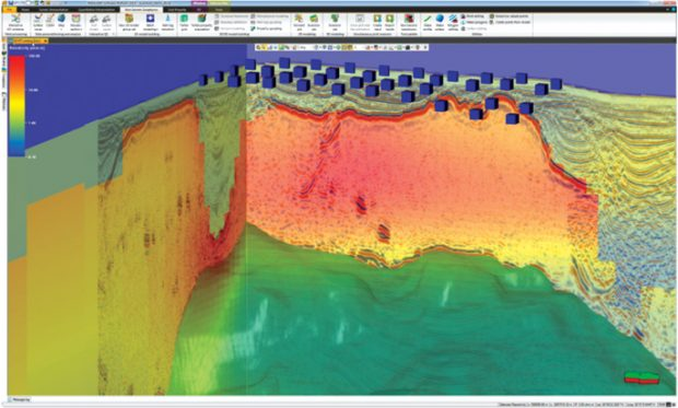 A 3D inversion model overlain on a seismic cube for integrated interpretation of horizons. Image: Schlumberger Omega