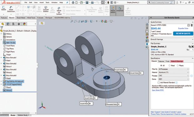 In addition to an online portal, Xometry offers a plug-in for SOLIDWORKS, letting users get a price while they design. Image courtesy of Xometry.