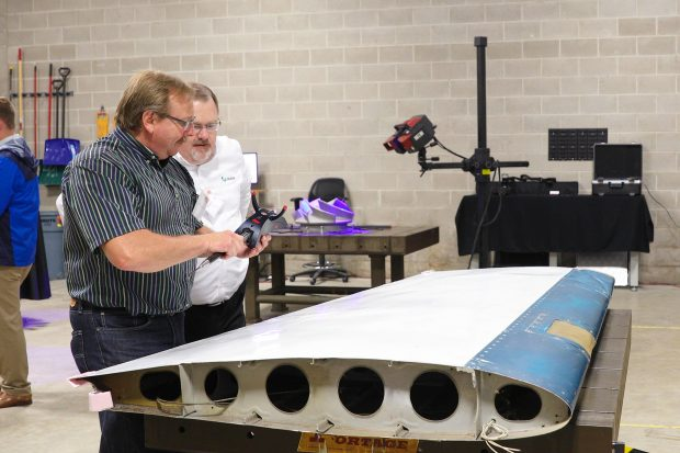 Scanning an airplane wing using the Leica AT960. Image courtesy of Exact Metrology.