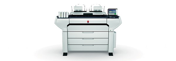 The new Océ ColorWave 3000 series of large-format monochrome and color printing systems from Canon U.S.A. incorporate a number of patented technologies designed to help users save time and costs while increasing productivity. Shown here is the Océ ColorWave 3700 with Océ MediaSense technology, which automatically adjusts the gap between the imaging device and media without manual adjustments. Image courtesy of Canon U.S.A. Inc.